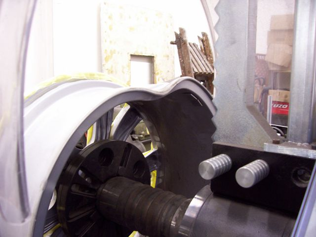 Image of an aluminium wheel before repair
