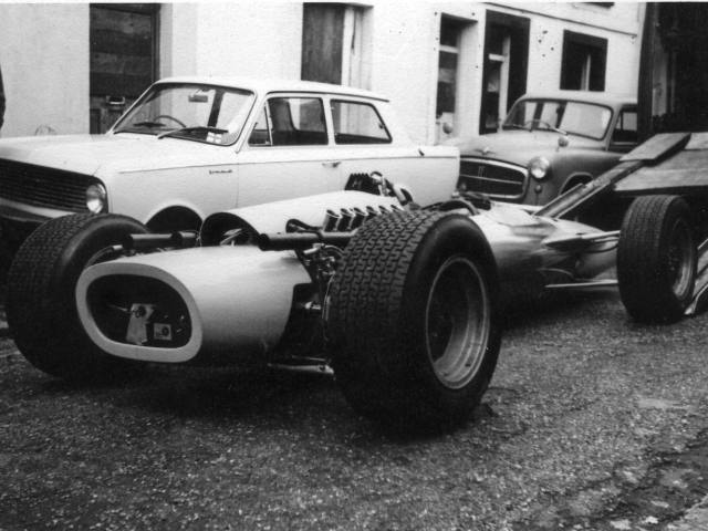 Image of a BRM racing car.  Bodywork completed by HMSMW